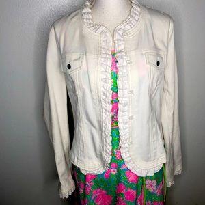Marc Bouwer white jean jacket.  Size Med. Ruffles